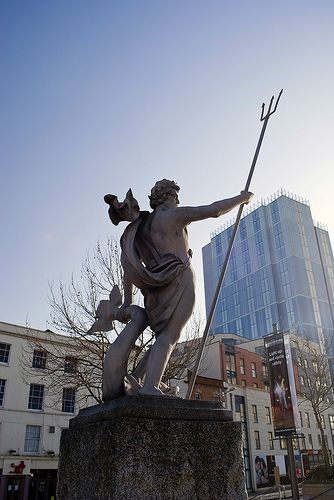 A God Of The Sea - Neptune statue, Bristol City Centre, Bristol, UK