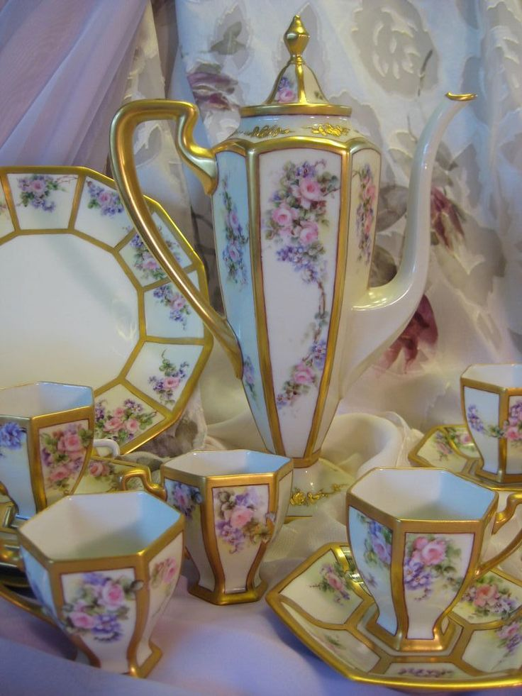 "Stunning Art Nouveau Antique Limoges France ""Finest Chocolate Set"" Matching Sweet Cookie Plate, Six Cups and Six Saucers ~ Elegant Victorian Hand Painted Chocolate Coffee Tea Pot ~ Gorgeous Roses and Violets ~ Outstanding Gold Work ~ Circa 1900"