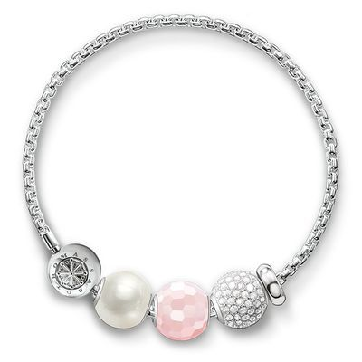 stoppeur - argent sterling 925‰ - silicone Taille: ca. 0,3 cm Pavé blanc - argent sterling 925‰ - pavé doxyde de zirconium / pierres synthétiques blanches Taille: ca. 1,0 cm Quartz rose - argent sterling 925‰ - quartz facettée rose Taille: ca. 1,0 cm Perl