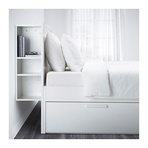 BRIMNES Bed frame with storage & headboard, white, Lönset King Lönset