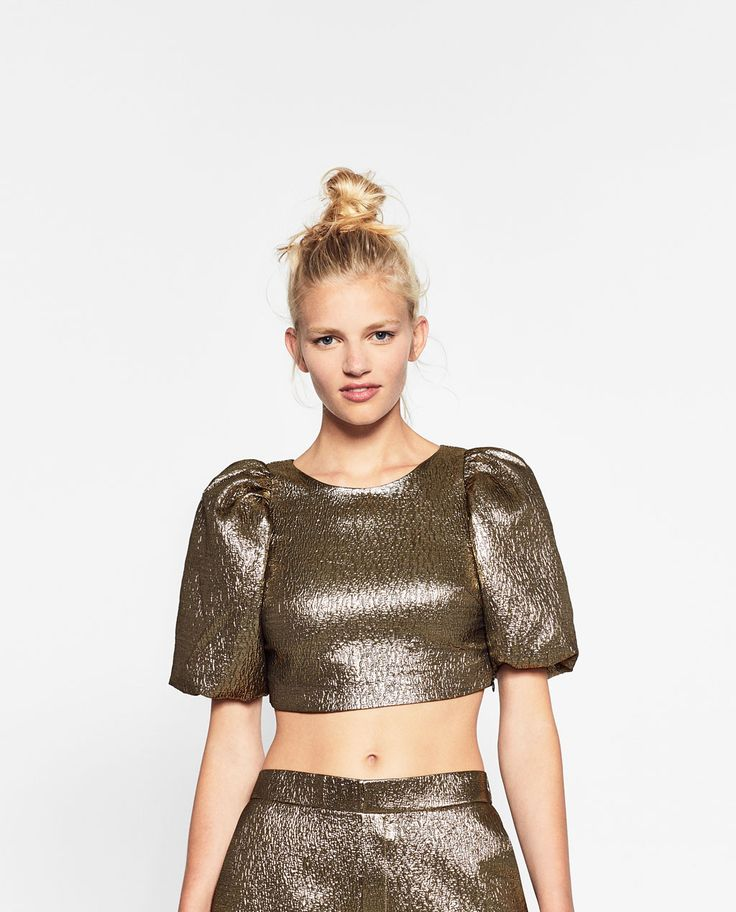 ZARA - TRF - SHINY TOP WITH FULL SLEEVES