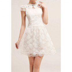 $41.40 Refreshing Scoop Neck Rhinestoned Short Sleeves Lace Embroidery Women's Mini White Conformation Dress