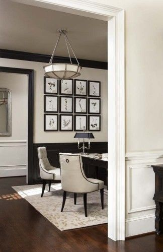 black and white - love the black wainscoting the way it frames the room.  Perfect chairs
