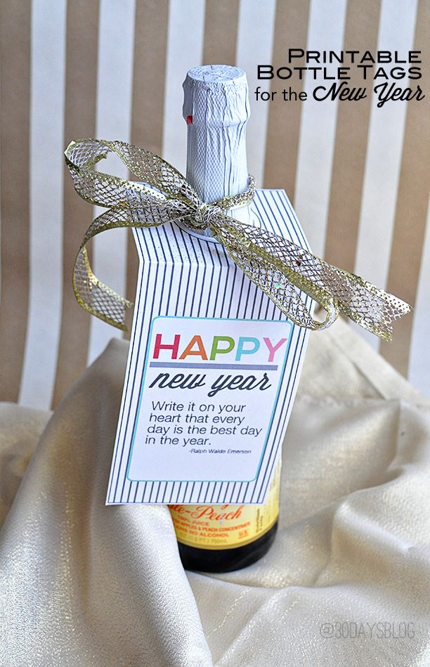 Printable New Year's Eve Bottle Tags. Print out these tags and add to a bottle for the perfect and simple new year's gift. from www.thirtyhandmadedays.com