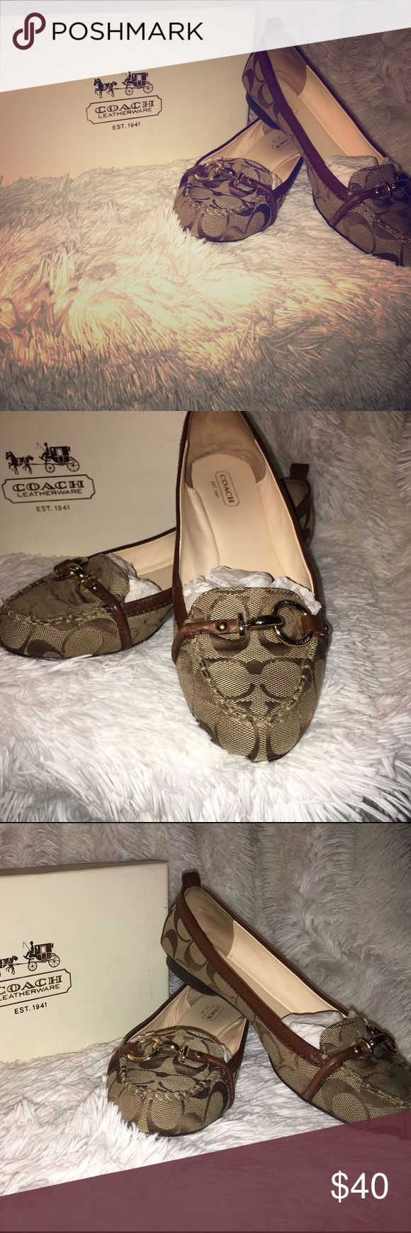 LADIES COACH FLATS COACH flats with metal buckle, barely worn like new!!!! Coach Shoes Flats & Loafers