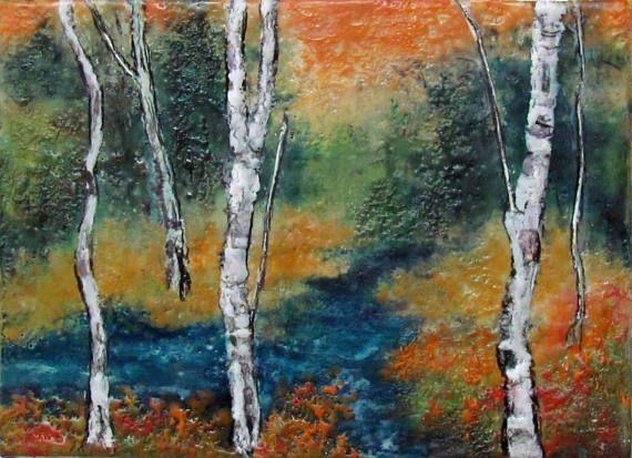 Original pintura encáustica  Aspen árboles  álamos por la