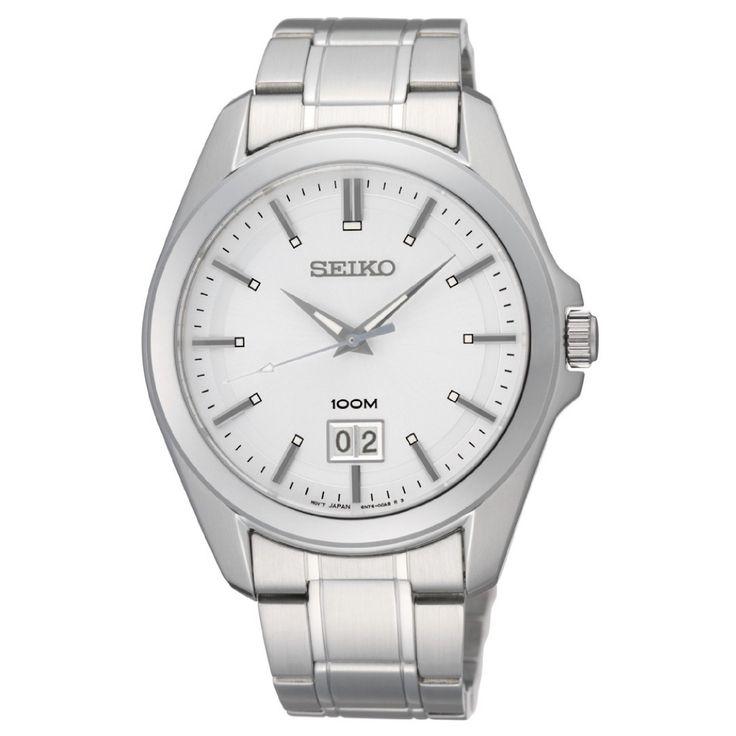 Klassisk sølvfarget klokke med datovisning fra Seiko - 10ATM - Gullfunn