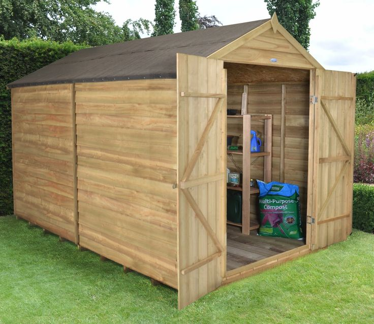 You may have security concerns regarding traditional sheds with windows on one side. With this Overlap 8ft x 10ft Shed you can allay those fears by specifying no windows. 8 x 10 Overlap Pressure Treated Apex Shed with Double Doors - GardenSite.co.uk