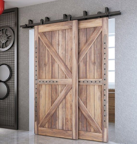 Hardware Only Not Including Door Panel The Length From Top Of The Door To The Top Of The Bypass In 2020 Bypass Barn Door Double Sliding Barn Doors Barn Doors Sliding