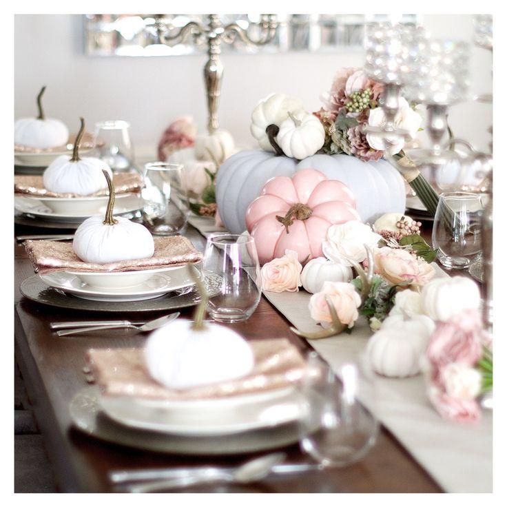 White velvet pumpkins -- fall tablescape from Composition Lane