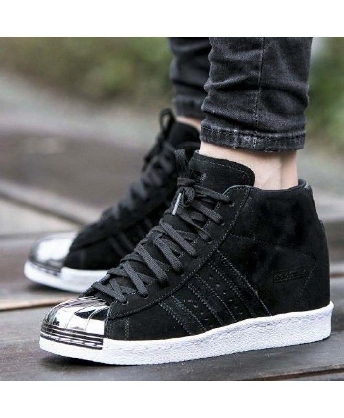 989af382208 Cheap Sale Adidas Superstar Mid Black Silver Trainers