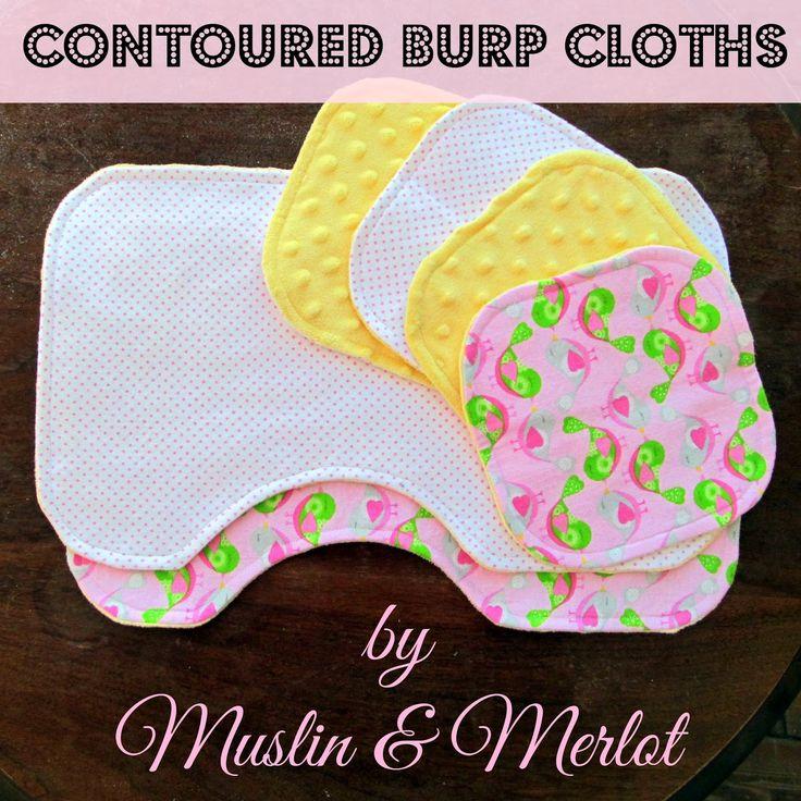 Contoured Burp Cloths. Free printable template!