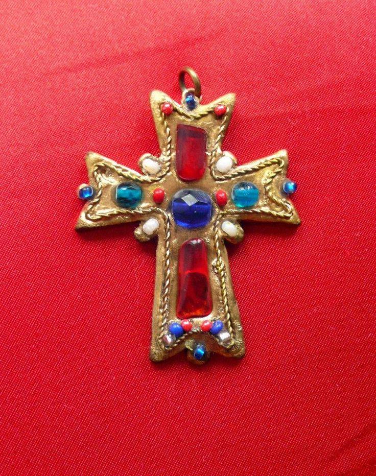 Gold cross polymer clay pendant - Pidlimaja