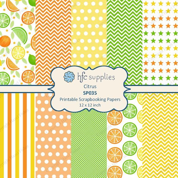 Citrus Digital Papers. Printable patterned scrapbooking papers: orange lemon and lime fruit with coordinating spotty, chevron, stripe and star designs by hfcSupplies