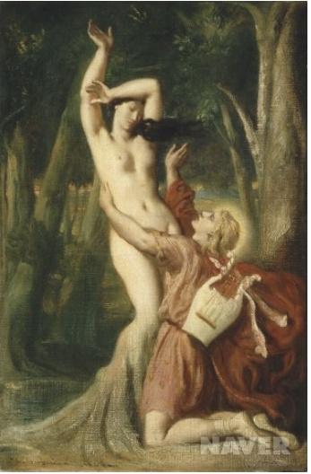위의 그림은 아폴로가 사랑했던 여인이 나무가 되어가는 과정입니다. 아폴로가 변해져 가는 여인을 보고 슬퍼하는 장면인데 이러한 비극성을 강조하기 위해서 아폴로의 빨간 옷을 설정하였습니다. 빨간색은  비극적인 결말(피)와 비슷한 색깔이기 떄문입니다.