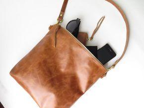 Crossbody-Bag Leder Leder Handtasche braune Ledertasche