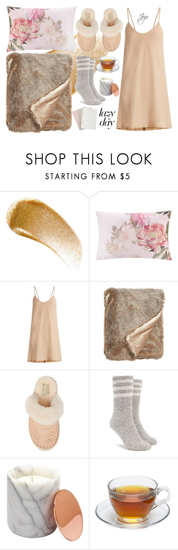 """""""Lazy Champagne"""" by jrpsketch on Polyvore featuring BBrowBar, Ted Baker, Skin, Nordstrom, UGG, Forever 21 and StudioSarah"""