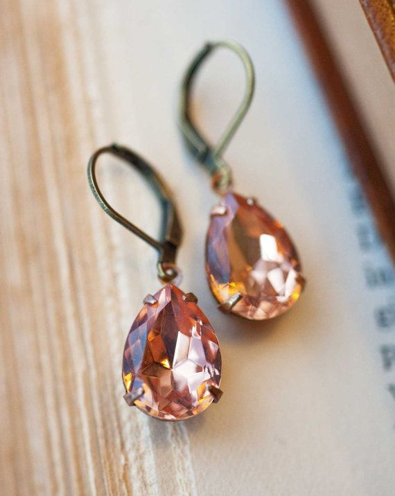 Dangle earrings peach earring bridesmaids gift by NotOneSparrow, $22.00