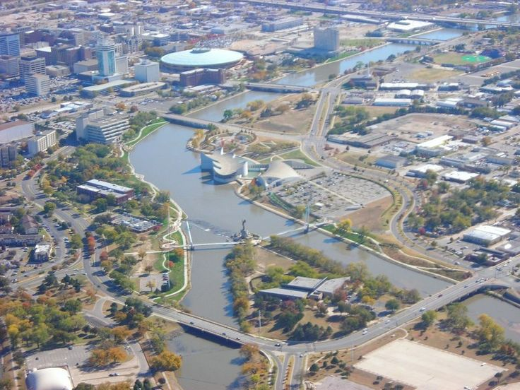 The confluence of the rivers and downtown wichita from for Family motors wichita ks