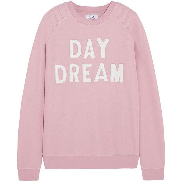 Zoe Karssen Day Dream leather-appliquéd cotton-blend jersey sweatshirt (£68) ❤ liked on Polyvore featuring tops, hoodies, sweatshirts, sweaters, shirts, sweatshirt, pink, shirts & tops, pink sweatshirt and leather shirt