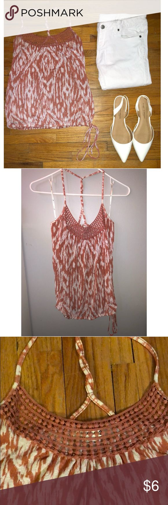 Spaghetti strap Multi-colored spaghetti strap shirt with elastic waste-line, braided cross-back, and lace-like across the chest - worn but good condition, small pull off of elastic as pictured Forever 21 Tops Tank Tops