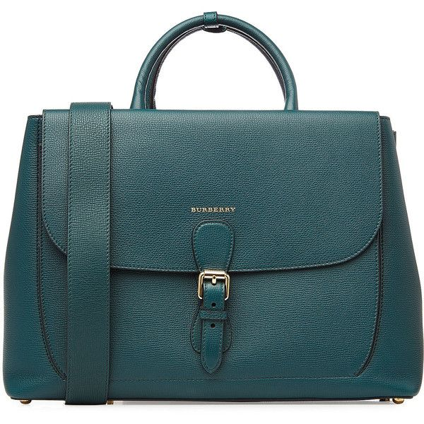 Burberry Leather Tote (€2.119) ❤ liked on Polyvore featuring bags, handbags, tote bags, purses, bolsas, сумки, green, leather zip tote, green leather tote and leather tote handbags