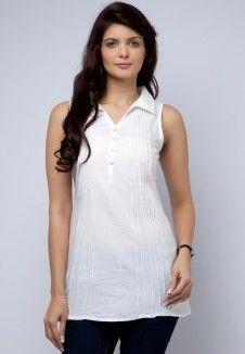 Cotton White Kurti