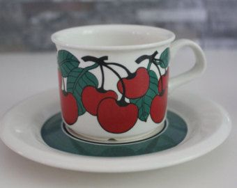 "Set of 2 ""Kirsikka"" ""Cherry"" pattern coffee cups  by Arabia Finland"