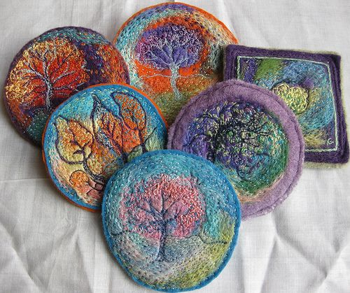 More felted wool roving projects. Awesome!! Embellished, Embroidered, Stitched by kayla coo, via Flickr