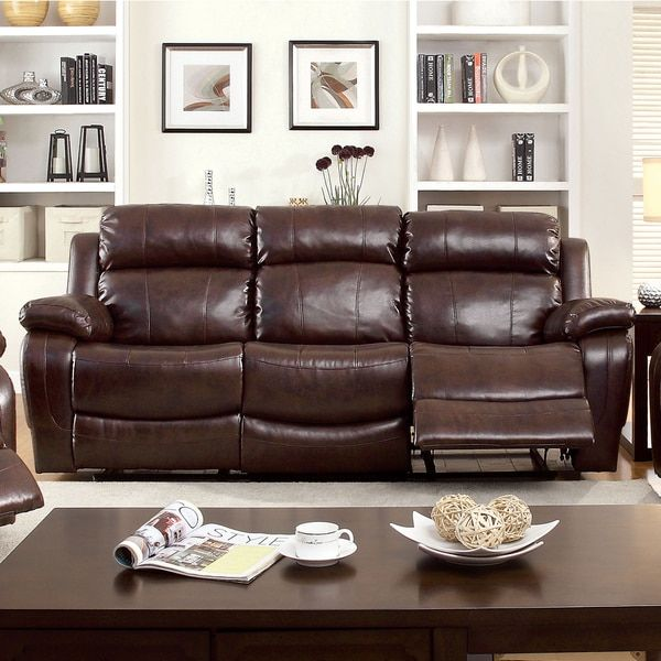 furniture of america menezi brown bonded leather reclining sofa