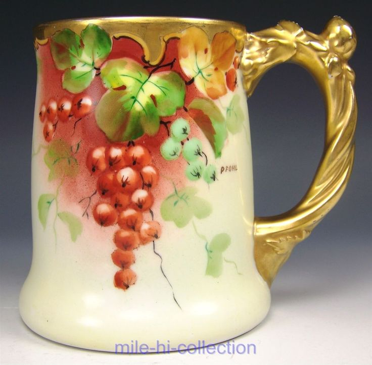 WHITE'S ART STUDIO LIMOGES HANDPAINTED RED CURRANT BERRIES MUG STEIN SIGNED FOHL