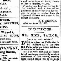 "George Stanway, Victoria Dining Rooms, Port Albert. Board and Lodging, 20s per week. Meals, 1s. Beds, 1s. The best accommodation in the Lower District. N.B. --Agent for the ""Gippsland Guardian."" Gippslang Guardian, 'Advertising', 26 Oct 1868, p. 1."