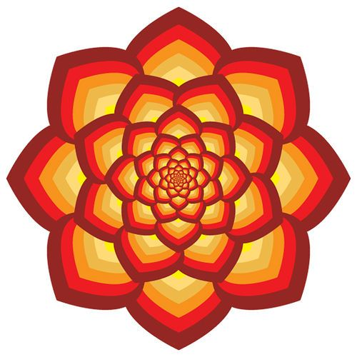 red fire lotus design geometric.  lotus flower, a common symbol in Buddhist art for its ability to grow from the mud and become beautiful.
