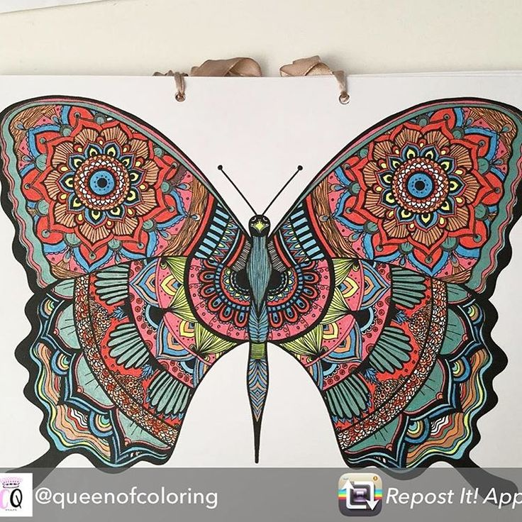 Repost from @queenofcoloring using @RepostRegramApp - Splashed out the gel pens on theirs lovely butterfly from @evelyn_illustrations  #coloringbooksforadults #mandalaart #mandala #handmade #coloring #mandalaart #mandalacoloring #mandalacoloringbook #colouring #coloringforgrownups #butterfly #mindfulness #drawing #doodle #thebookofmandalas