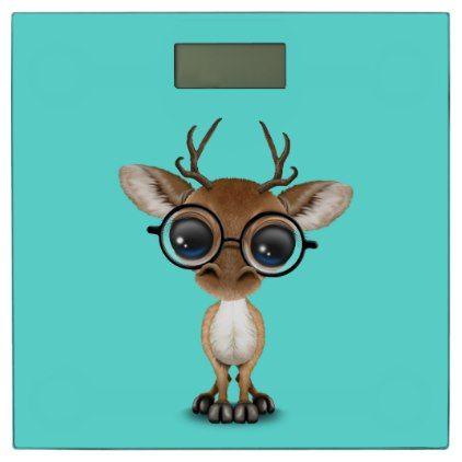 #Nerdy Baby Deer Wearing Glasses Bathroom Scale - #Bathroom #Accessories #home #living