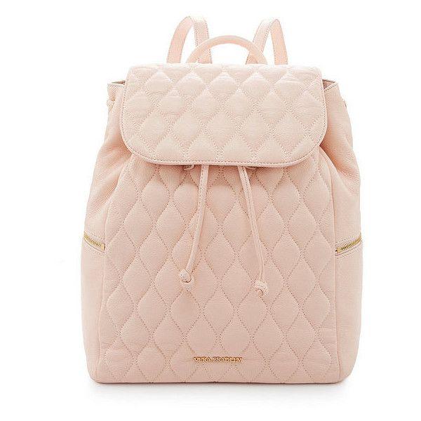 Vera Bradley Amy Quilted Leather Backpack (£180) ❤ liked on Polyvore featuring bags, backpacks, bolsas, mochilas, knapsack bags, rucksack bag, pink bag, vera bradley backpack and backpacks bags