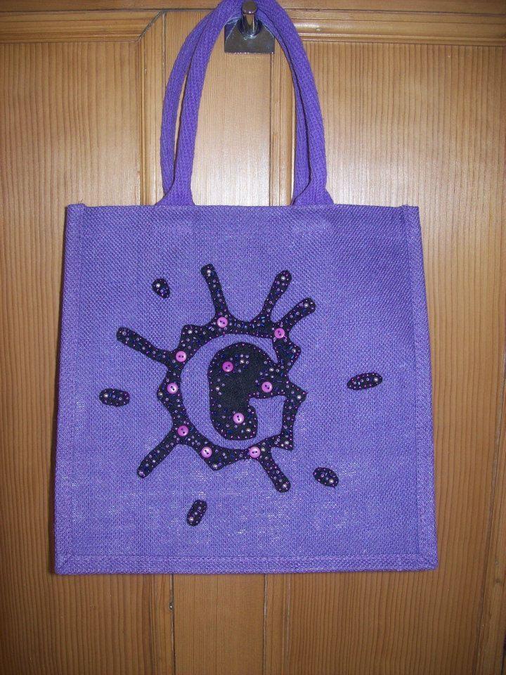 """""""G"""" Medium Luxury Unique Bespoke Hand Embellished Jute Bag."""