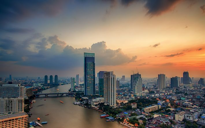 Download wallpapers Bangkok, 4k, sunset, panorama, cityscapes, Thailand, Asia