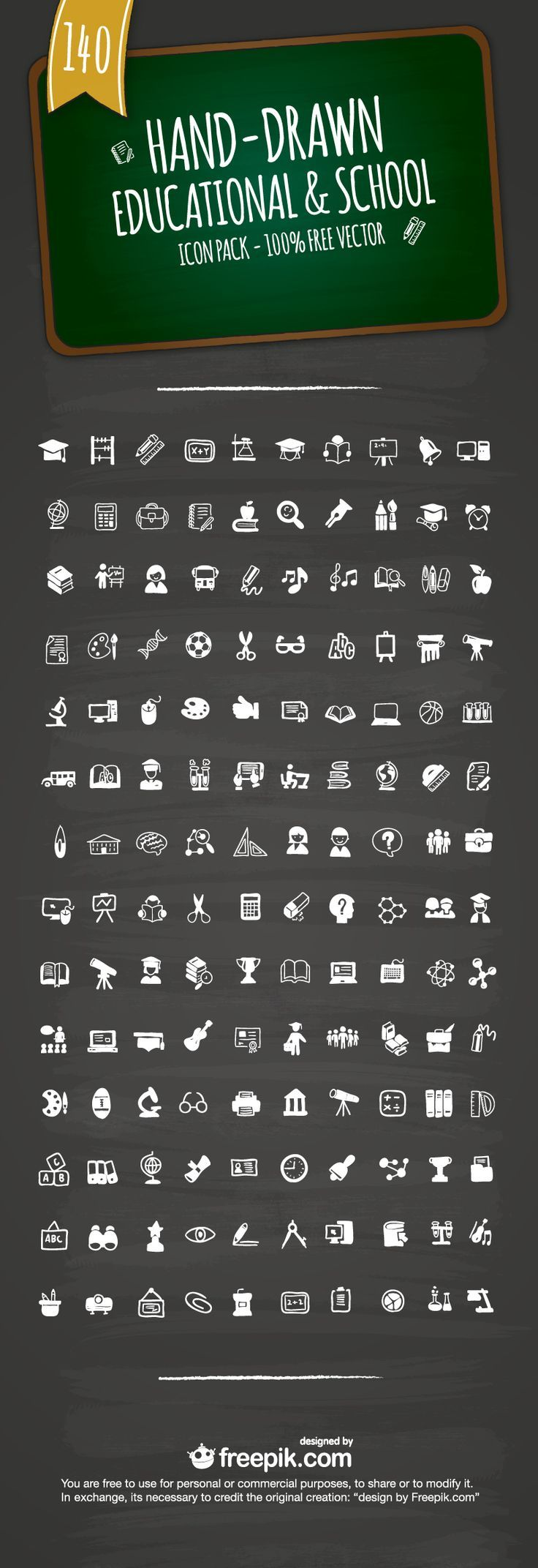 Free Hand-Drawn Educational & School  Icons