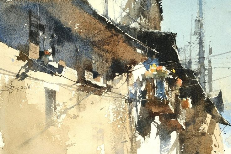 Watercolor by Chien Chung Wei - The Wall of Aosta