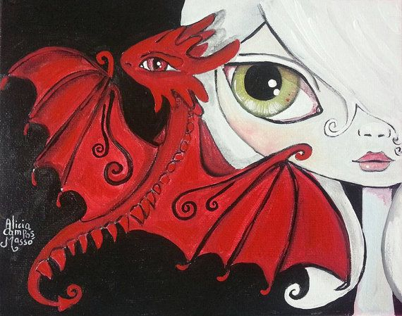 Red Dragon Flying with Girl Painting; Baby Dragon Next to White Haired Girl