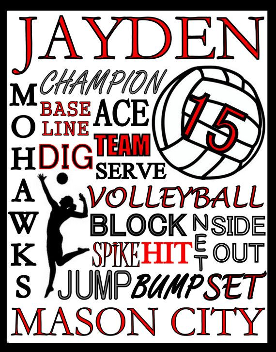 $5 only  volleyball gift  Volleyball Print  custom volleyball poster  by PinksPerfections