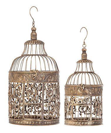 Look what I found on #zulily! Metal Birdcage Set #zulilyfinds