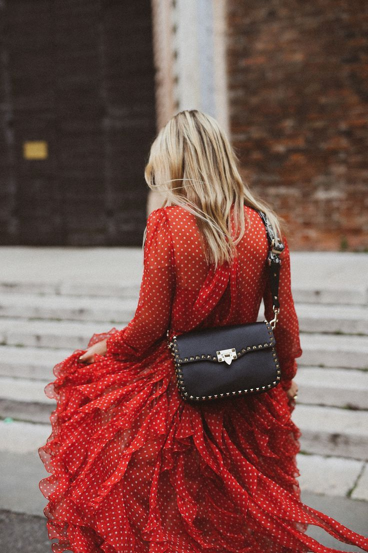 c1d32b9dd7e Valentino Pre-Fall 2018 long red designer dress red Valentino dress street  style