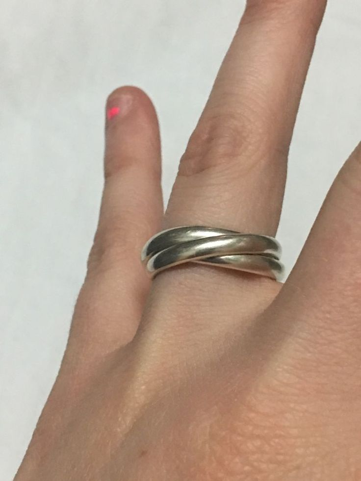 VINTAGE STERLING SILVER ESPO SIG THREE BAND RING~STACKABLE  | eBay