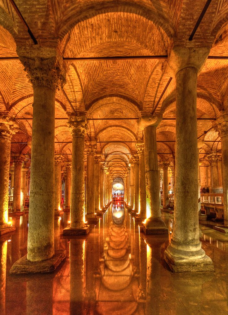 Underground Basilica Cistern, Istanbul, Turkey - the largest of several hundred ancient cisterns that lie beneath the city.