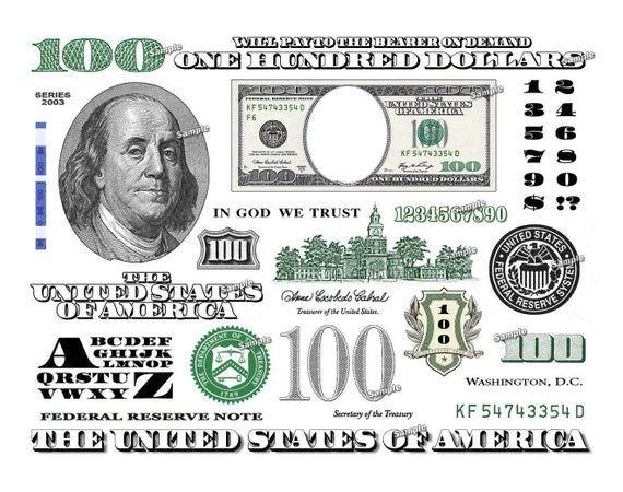 Hundred Dollar Bill Design Images Photoshop Transparent File Etsy Dollar Bill Dollar Png Graphics