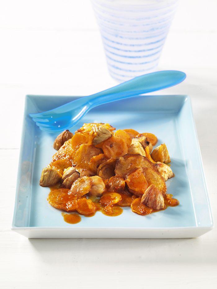 Maroni-Möhren-Pfanne mit Kartoffeln   Esskastanien enthalten viele Kohlenhydrate (das macht satt) und dazu auch noch Ballaststoffe.