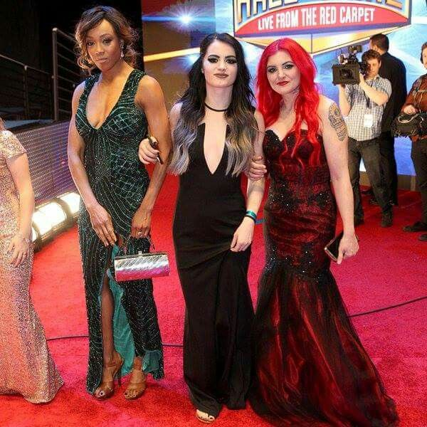Alicia Fox, Paige, Saraya Knight at The Hall Of Fame Induction Ceremony