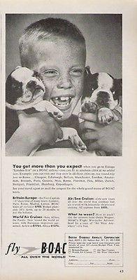 Boston Terrier Puppies 1957 Photo Ad Fly BOAC British Overseas Airways Corp
